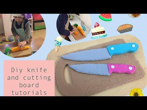 Diy cardboard play kitchen knife and cutting board