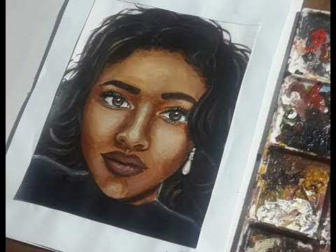 How to Paint a Portrait in Acrylics Timelapse - dark skin tone, semi-realistic