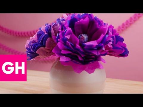 How to Make DIY Tissue Paper Flower Lollipops | GH