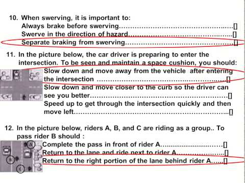 2017 Dmv Motorcycle  Released Test Questions part 1  Written CA Permit practice online