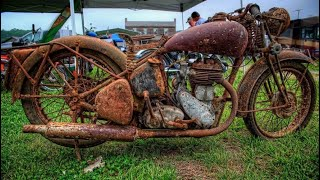 Unrestored American Old Motorcycles Starting Up After Many Years