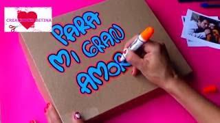 En este vídeo te explico, como hacer una caja sorpresa para toda ocasión(cumpleaños, fechas especiales etc.) la puedes personalizar,con imagenes y fotos.  Materiales:  -papel craft (paper craft) -marcadores de vinilo (vinyl markers) -diamantina (mirella) -fotos (photos) -papel ceda (ceda paper) -lapiz (pencil) -regla (rule) - silicona liquida (liquid silicone)  SUSCRIBETE A MI CANAL      Si te ha gustado este video,asegúrate de suscribirte a mi canal, si aun no te has suscrito es total mente gratis. DARLE UN like ! si te gusto, dejar un comentario,pero sobre todo compartir este vido seo con tus amigos. Hasta pronto.