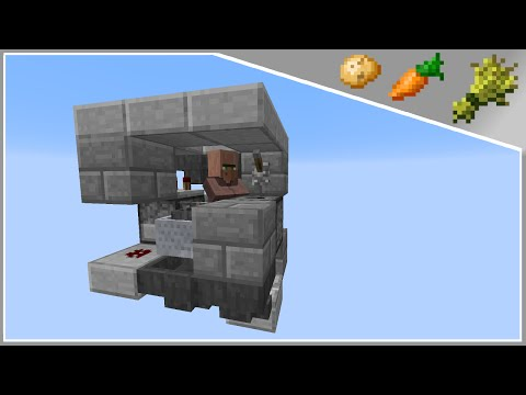 Minecraft Tutorial : 3x3 Fully Automatic Villager Wheat / Carrot / Potato Farm (1.8)+