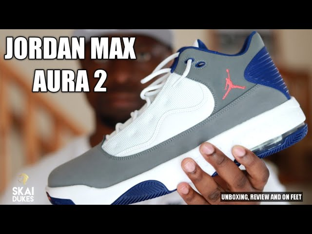 JORDAN MAX AURA 2-(UNBOXING, REVIEW AND ON FOOT)GREY/WHITE/BLUE.