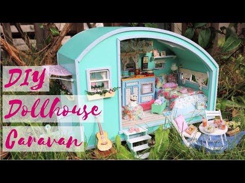 DIY Dollhouse Caravan, Camper / Miniature Tutorial / Cute Roombox Kit with Working Lights, Music Box