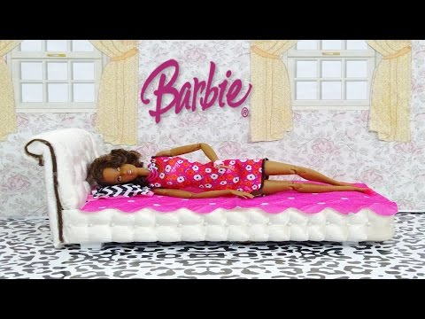 DIY Barbie Doll Bed  - How to make a barbie doll bed