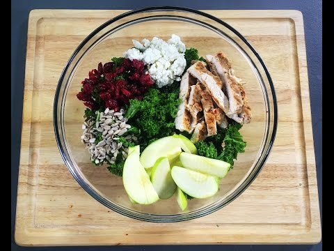 Grilled Chicken, Apple, & Feta Kale Salad With Balsamic Vinaigrette | Meals With Misha