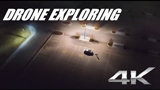 Abandoned parking lot exploring with drone in 4K