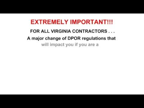 A Critical Virginia Contractor License DPOR 2016 Change CIC HIC