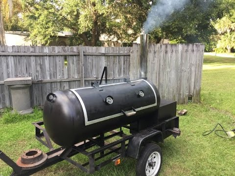 Reverse Flow smoker trailer build from a 120g propane tank