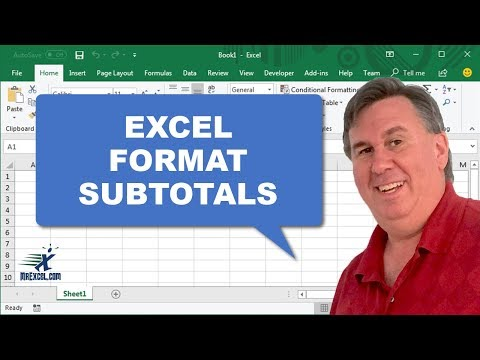 Learn Excel - Format Subtotal Rows - Podcast 1996