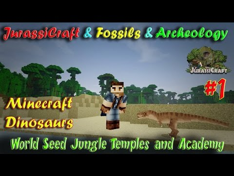 Minecraft Dinosaurs Jurassicraft Fossils and Archeology Ep1 World Seed Jungle Temples and Academy