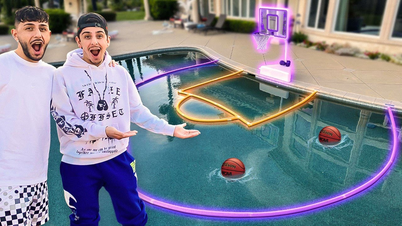 Surprising Faze Rug & Brawadis with a BASKETBALL COURT in the Pool!!