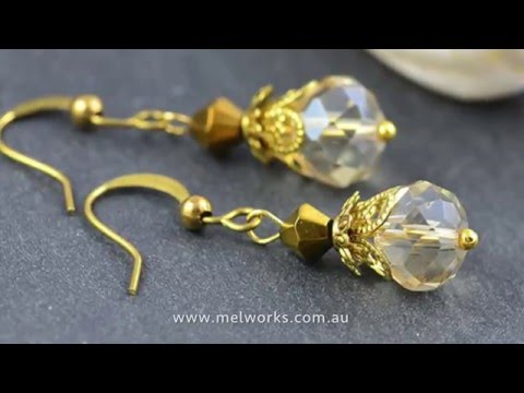 Melworks Beads - How to make simple stylish glass earrings czech faceted jewellery