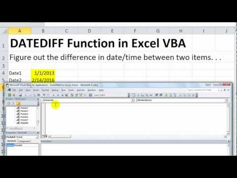 Excel VBA Basics #24 DateDiff in VBA - Difference in Seconds, Hours, Weekdays, Quarters, Months, Etc
