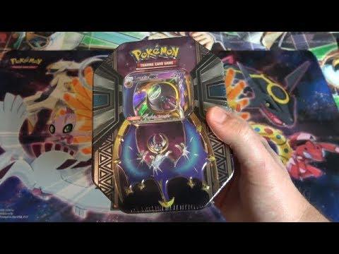 Pokemon TCG Sun & Moon Lunala GX Tin Opening