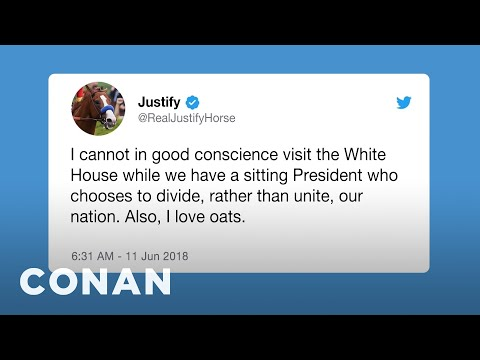 Justify The Horse Turns Down A Visit To The White House  - CONAN on TBS