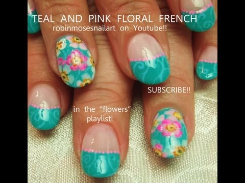 Turquoise Blue Nails with Watercolor Flowers! Pretty nail art design