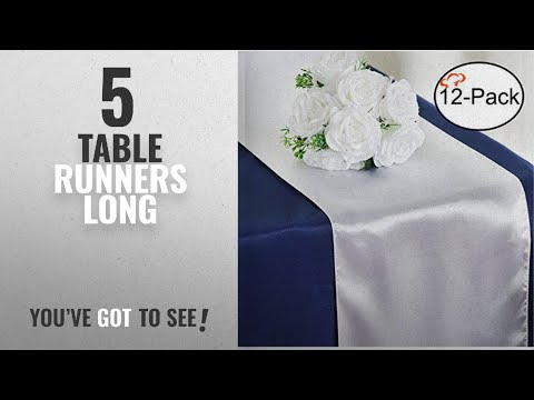 Best Table Runners Long [2018]: Tiger Chef 12-Pack White 12 x 108 inches Long Satin Table Runner