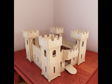 Wooden castle toy plans for CNC router and laser cutting. CNC files.
