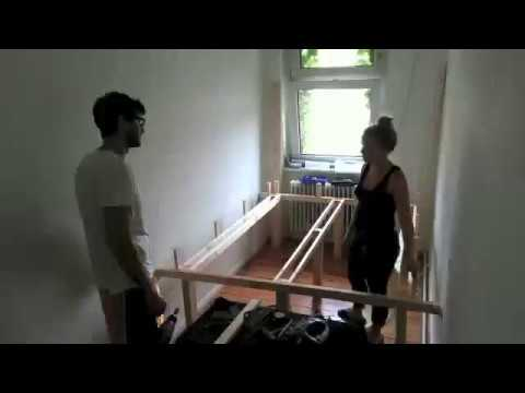 DIY Platform Bed using Ikea Expedit idea for small bedroom for extra storage