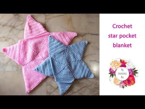 Free crochet pattern: star shaped pocket baby blanket
