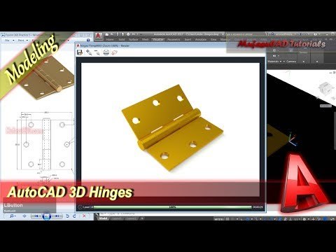 AutoCAD 3D Modeling + Rendering Hinges Tutorial Practice Exercise 41