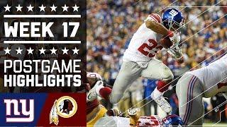 Giants vs. Redskins | NFL Week 17 Game Highlights