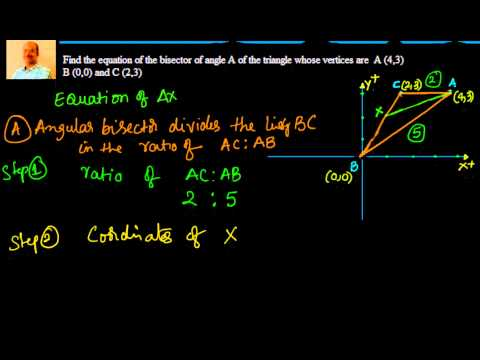 Equation of angular bisector of a triangle given coordinates of vertices