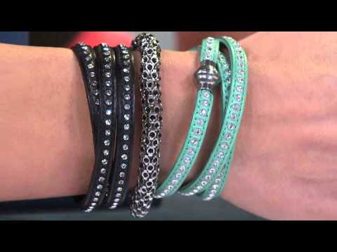 Stainless Steel Crystal Leather Wrap Magnetic Clasp Bracelet with Gabrielle Kerr