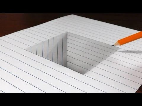 How to Draw a Square Hole in Line Paper - 3D Trick Art