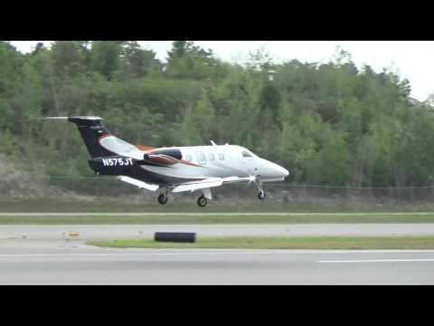 Small Private Jet Plane, Landing (MHT)