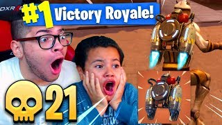 OMG *NEW* JETPACK IS OVERPOWERED! IM UNTOUCHABLE IN THE SKY! 9 YEAR OLD BROTHER FORTNITE BR 21 KILLS