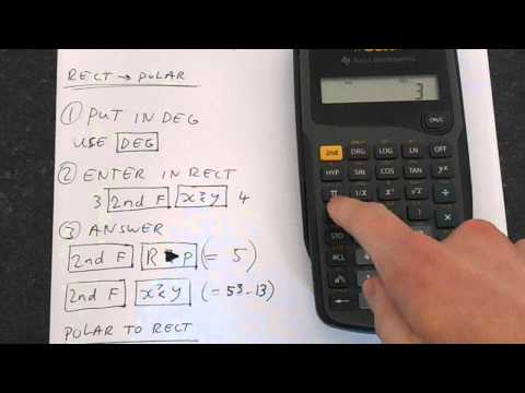 TI-30Xa: Rectangular To Polar Form Conversions