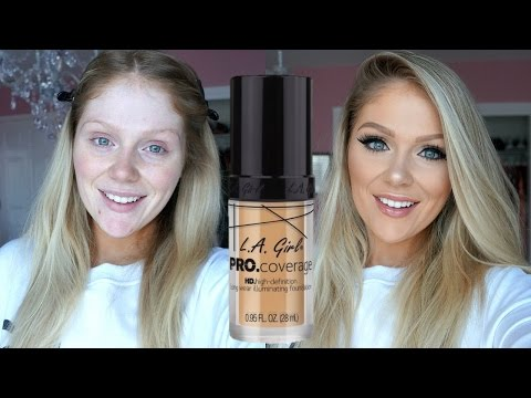 NEW LA GIRL PRO COVERAGE HD FOUNDATION FIRST IMPRESSIONS REVIEW + DEMO