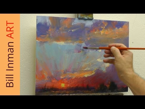 Free Oil Painting Lesson - Painting a Sunset with Mountains - Muncie, Indiana