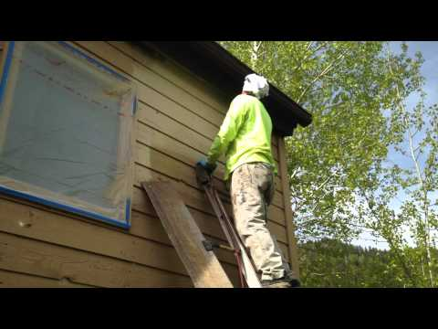 30 second siding stain spray and back-brush application demonstration