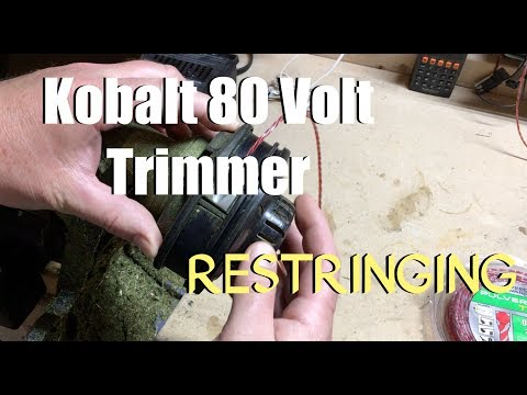 How to replace line for a Kobalt 80 Volt Trimmer - Restringing (super easy)