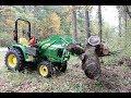 John Deere 3025e Moving Logs With Pallet Forks