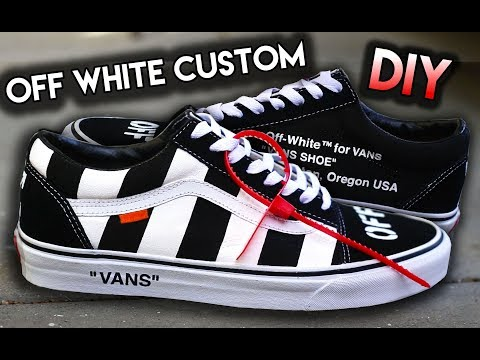 HOW TO: OFF WHITE INSPIRED VANS OLD SKOOL CUSTOM SHOES!!