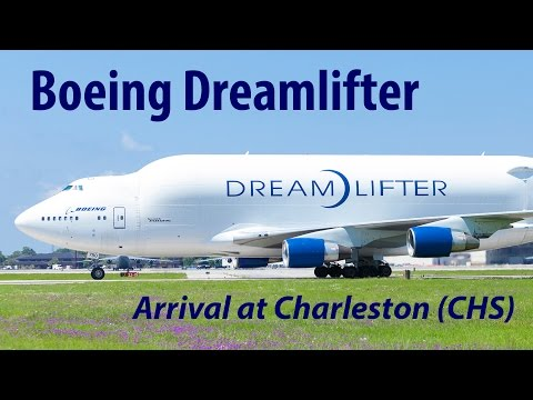Boeing 747 Dreamlifter (747LCF) Jumbo Jet landing at Charleston (CHS)
