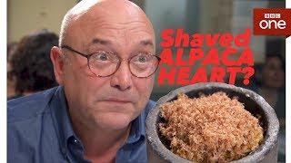Greg Wallace tries shaved Alpaca heart - Masterchef - BBC One