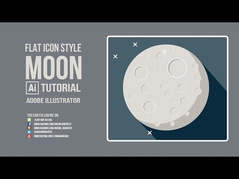 Flat Style Tutorial - Moon Flat Icon [Adobe Illustrator cc 2015]