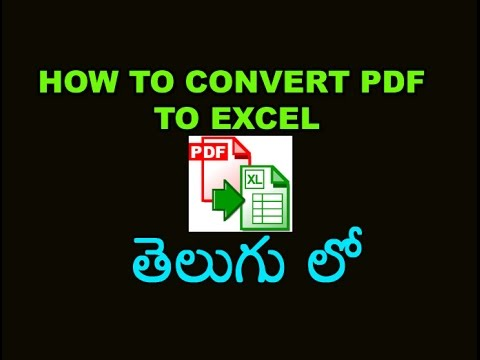 How to Convert PDF to Excel Tutorial in Telugu
