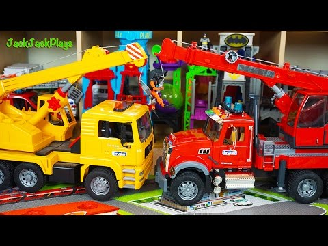 Bruder Crane Truck Toys for Children: Toy Unboxing: Kids Playing with Toys