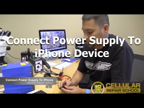 Connect power supply to iphone battery terminal to test functionality