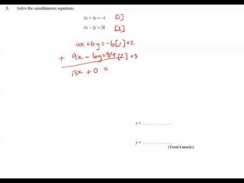11y Ma2   Simultaneous Equations   Q3