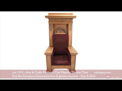Arts & Crafts Mathews Oak Masonic Throne Chair