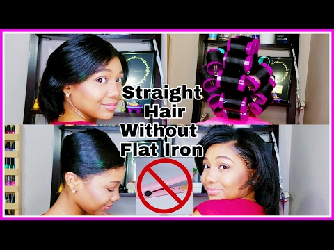 How To STRAIGHTEN HAIR Without a Flat Iron! Roller Set Straightening!