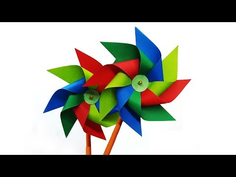 How to make a Paper Windmill - Kids Crafts Diy Toy making Tutorial (Pinwheel)